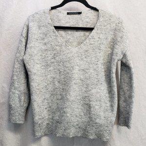 Monoprix Femme Gray Wool V-Neck Sweater